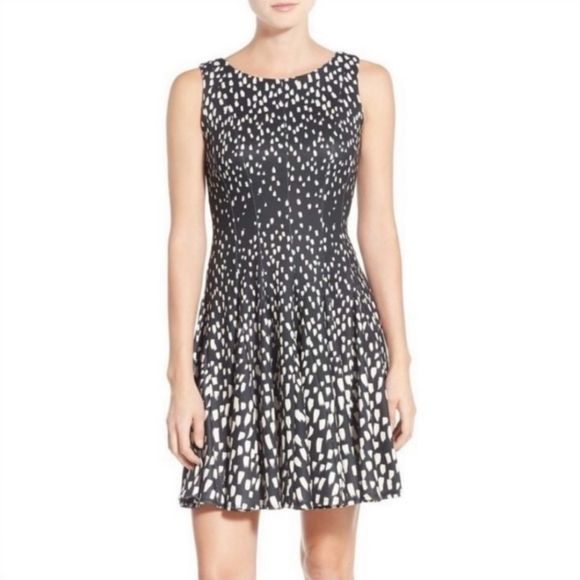 Eliza J Fit and Flare Black and Cream Abstract Spatter Mosaic Print Skater Dress